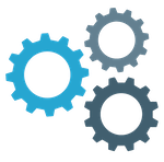 Clipart of three interacting gears